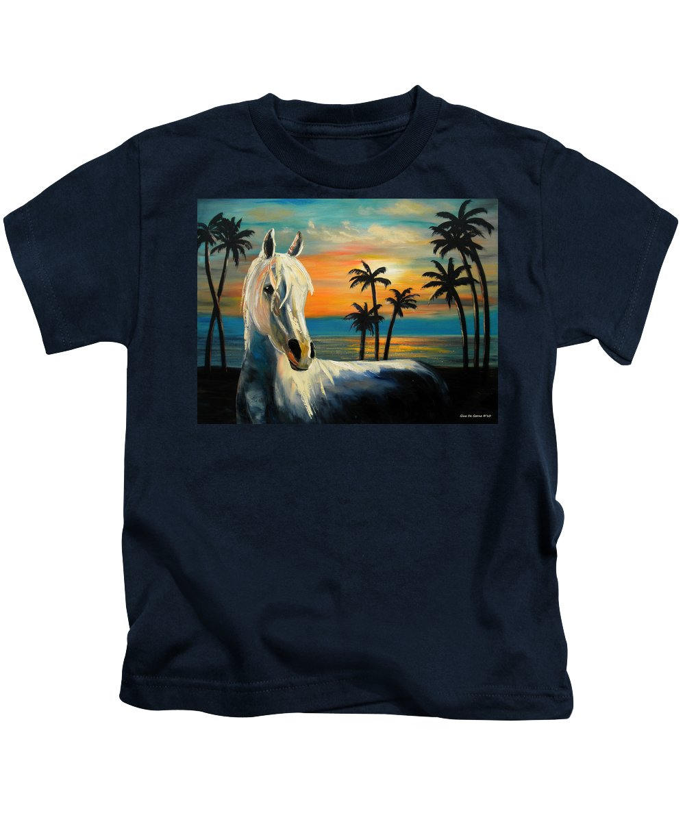 Horse Kids T-Shirt featuring the painting Horses In Paradise Tell Me Your Dream by Gina De Gorna
