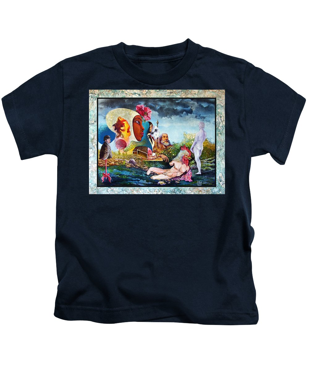 Surrealism Kids T-Shirt featuring the mixed media Hour Of The Cock by Otto Rapp