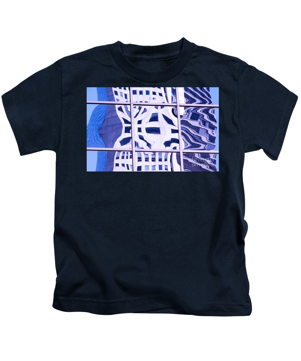 Abstract Reflections Kids T-Shirt featuring the photograph Houston Abstract Thinking Of Guadi by Thomas Carroll