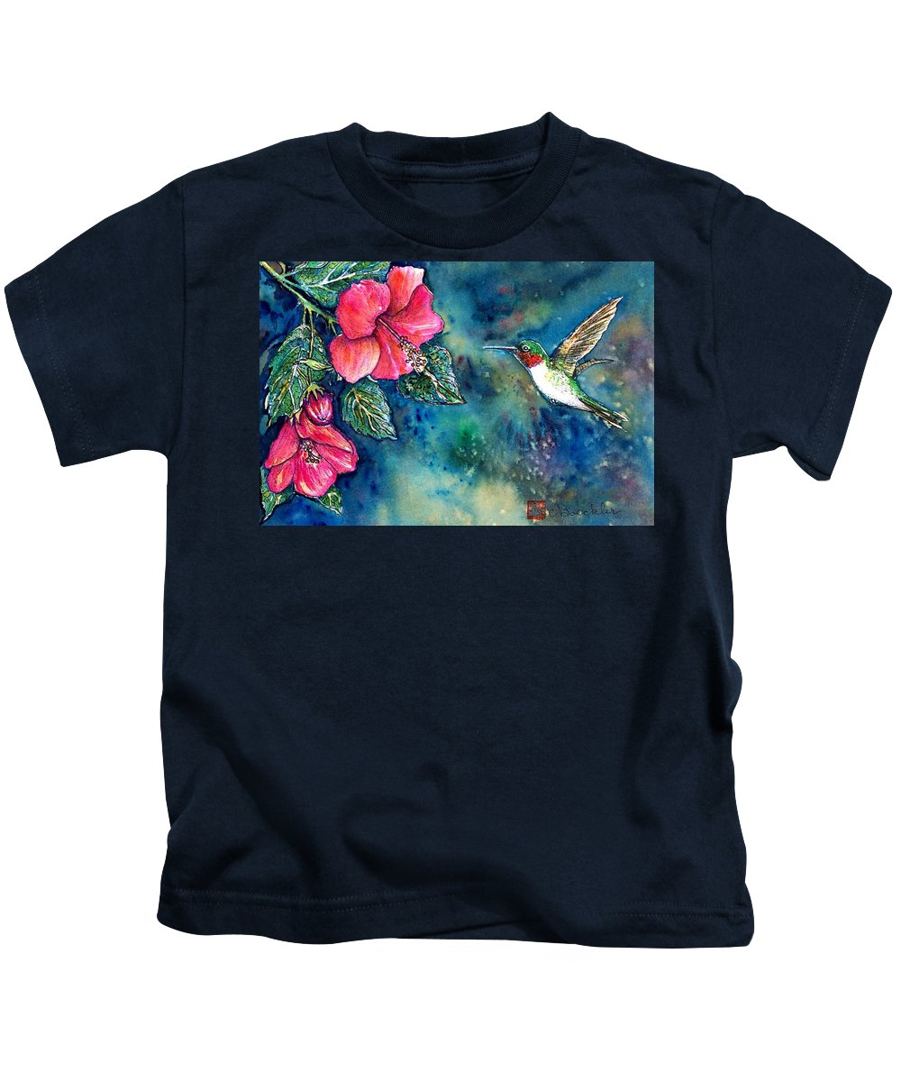 Birds Kids T-Shirt featuring the painting Hummingbird by Norma Boeckler