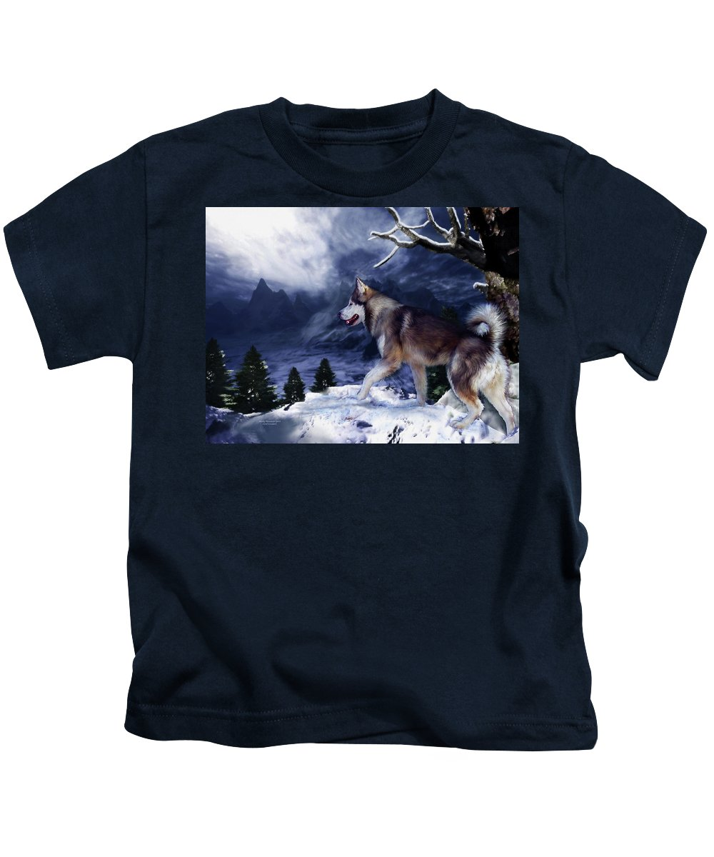 Husky Kids T-Shirt featuring the painting Husky - Mountain Spirit by Carol Cavalaris