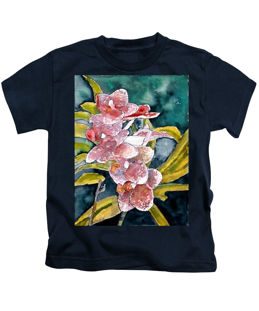 Orchid Kids T-Shirt featuring the painting Hybrid Orchids Orchid Flowers by Derek Mccrea