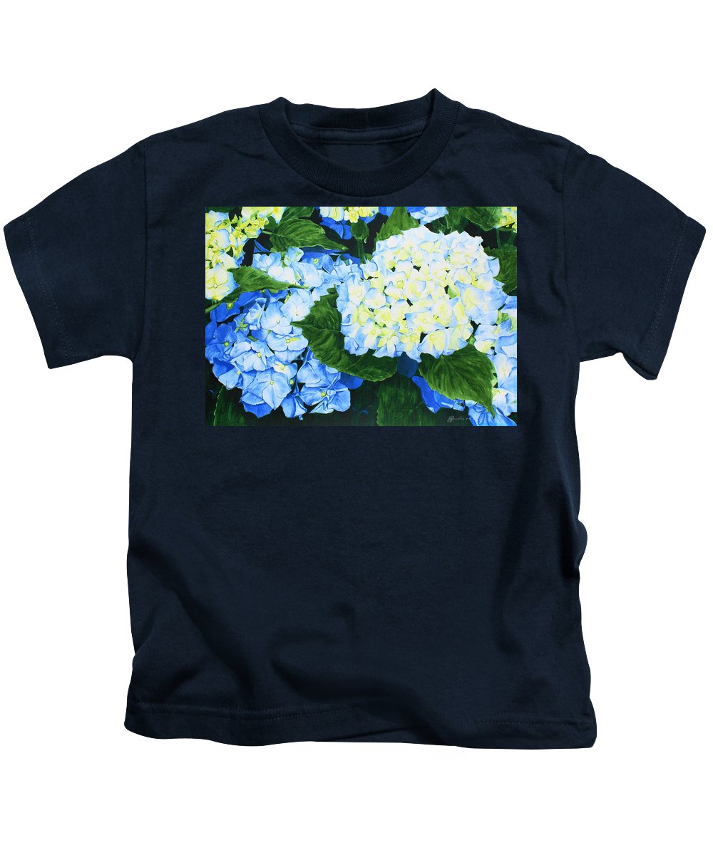 Hydrangeas Kids T-Shirt featuring the painting Hydrangeas by Frank Hamilton