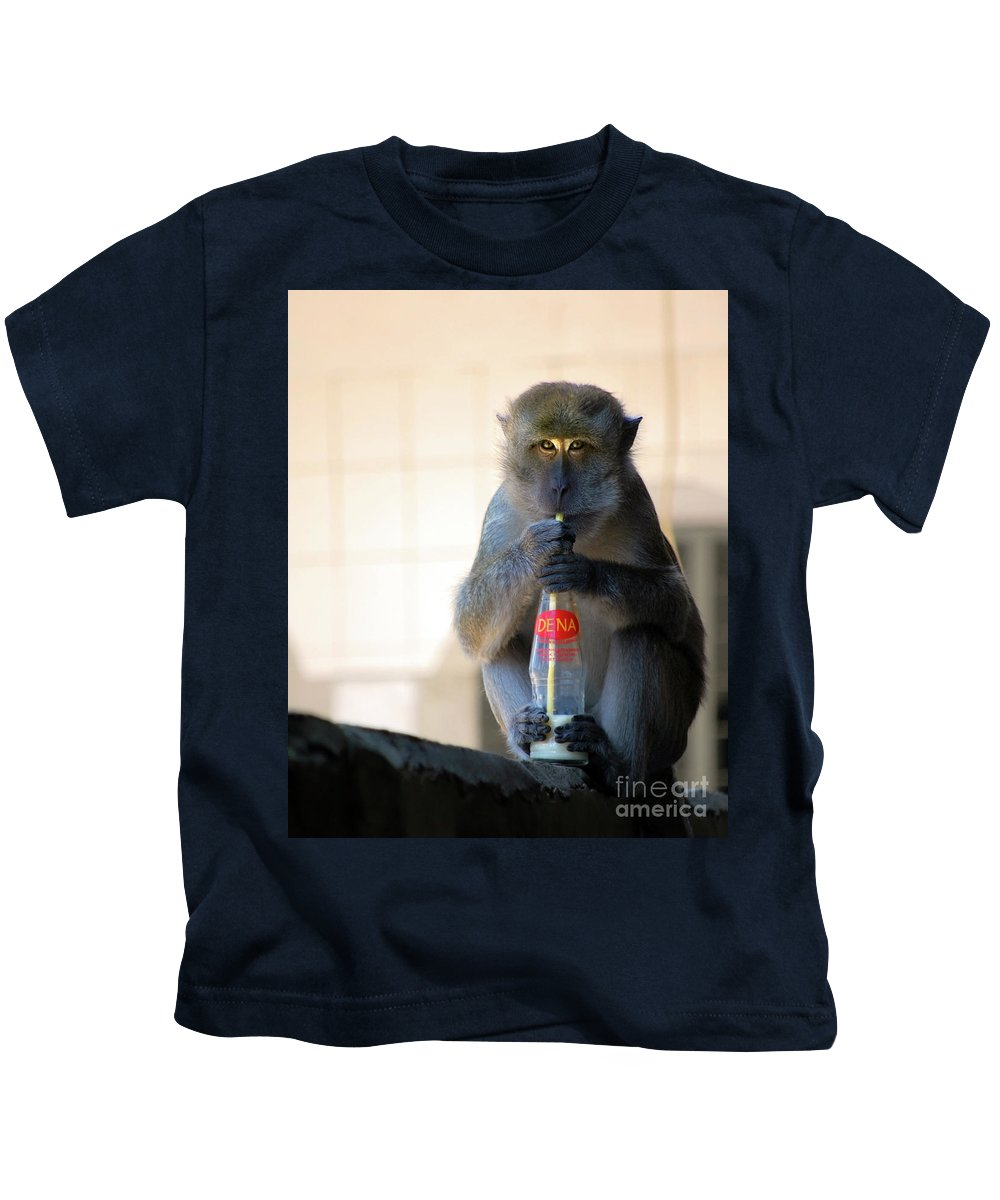Monkey Kids T-Shirt featuring the photograph I Love Milk by Charuhas Images