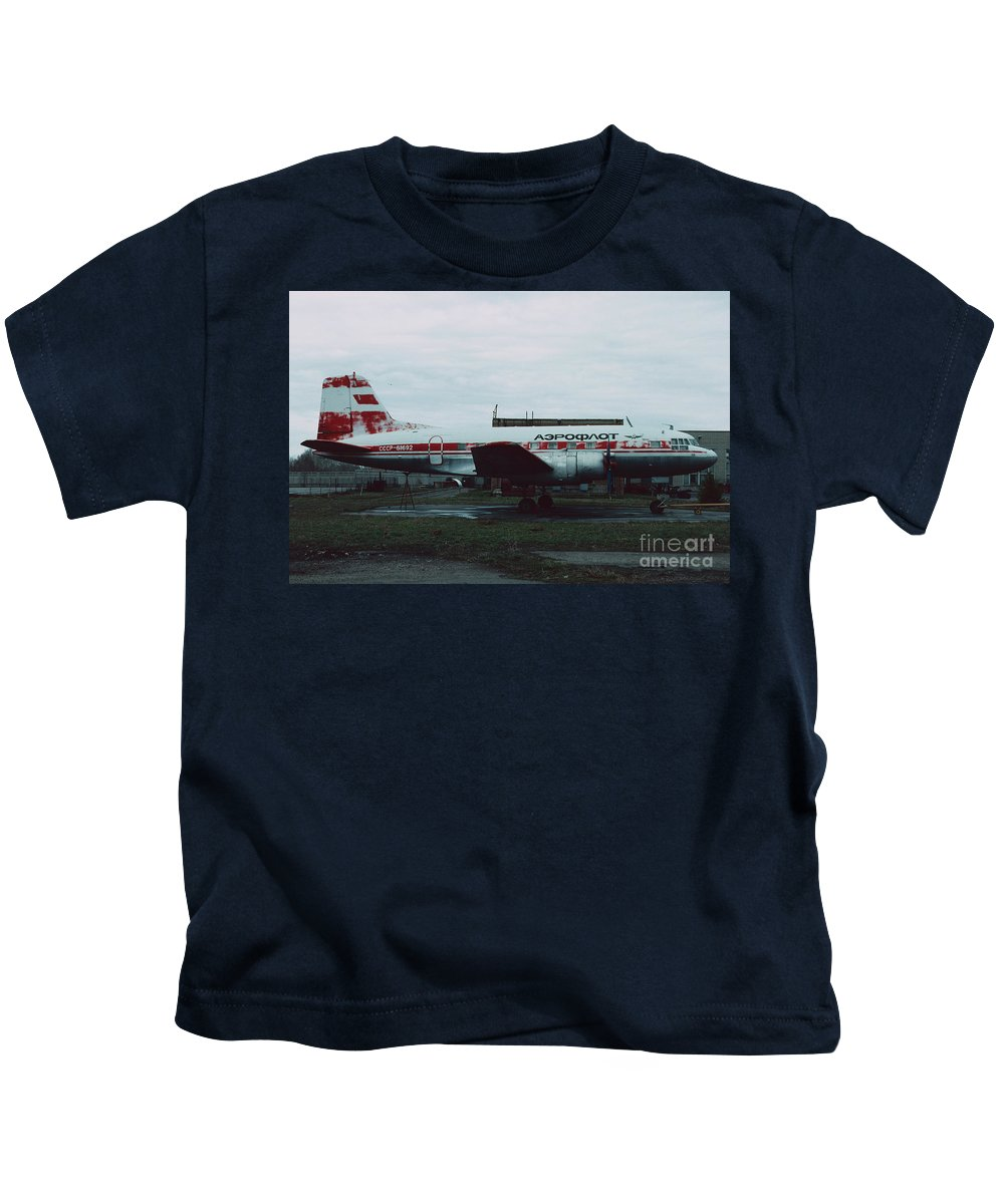 Il-14 Kids T-Shirt featuring the photograph Il-14 by Oleg Konin