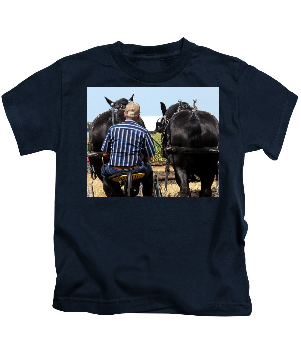 Plow Kids T-Shirt featuring the photograph In Sync by Ian MacDonald