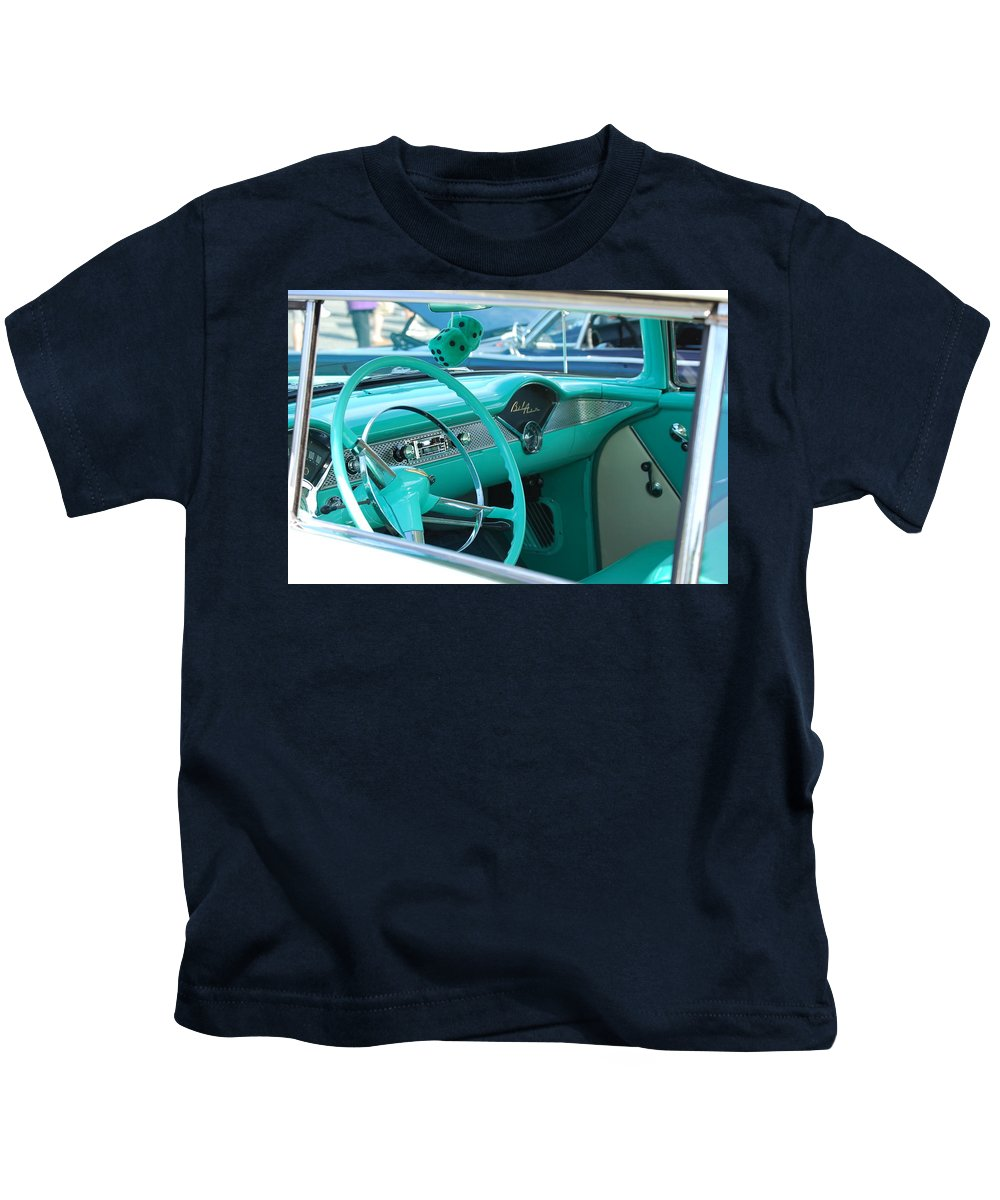 57 Chevy Kids T-Shirt featuring the photograph Inside A Classic by Eric Liller