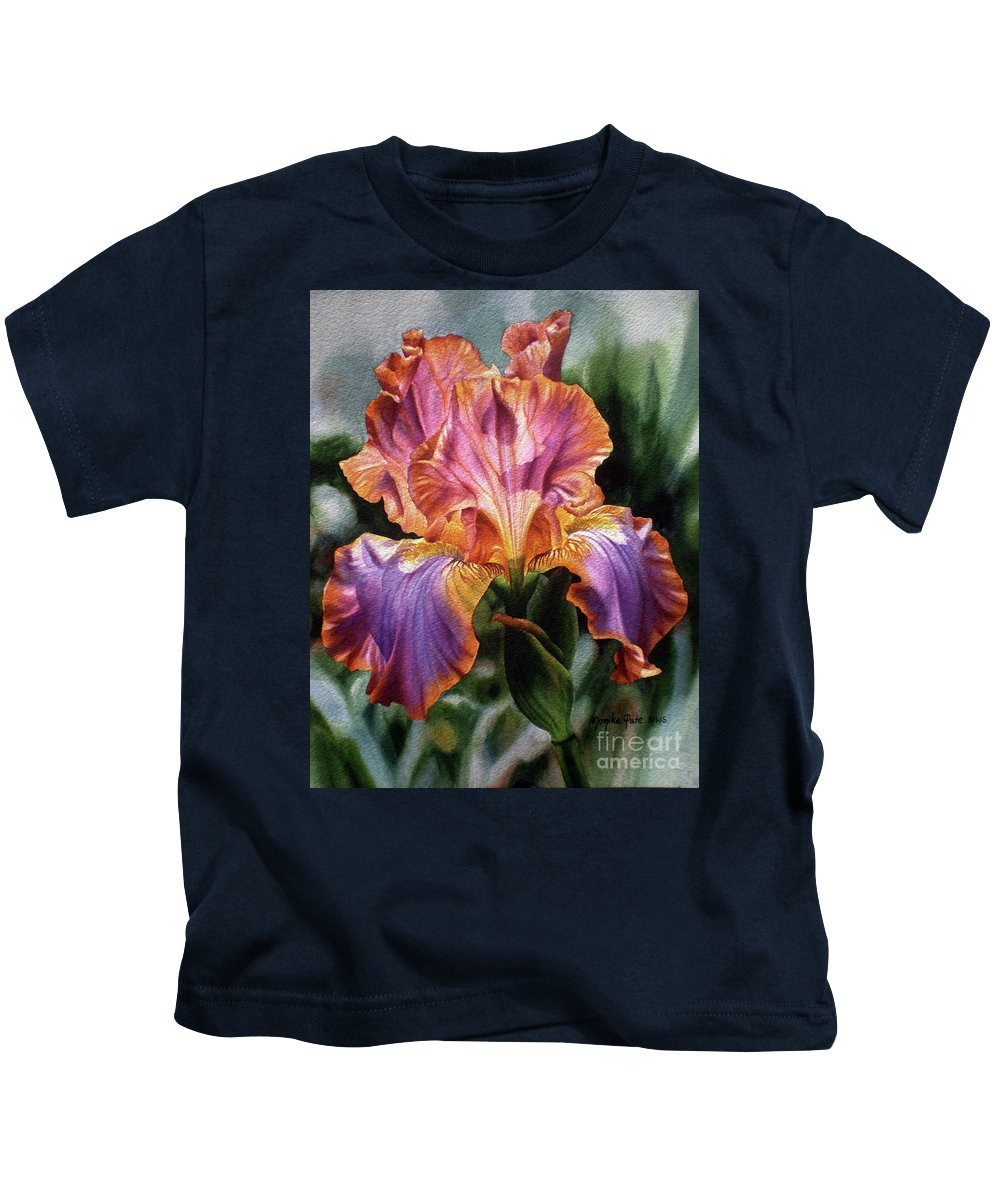 Flower Kids T-Shirt featuring the painting Iris II by Monika Pate