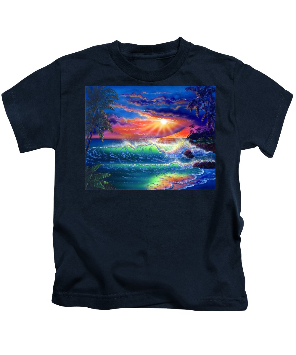 Seascape Kids T-Shirt featuring the painting Island Paradise by Angie Hamlin