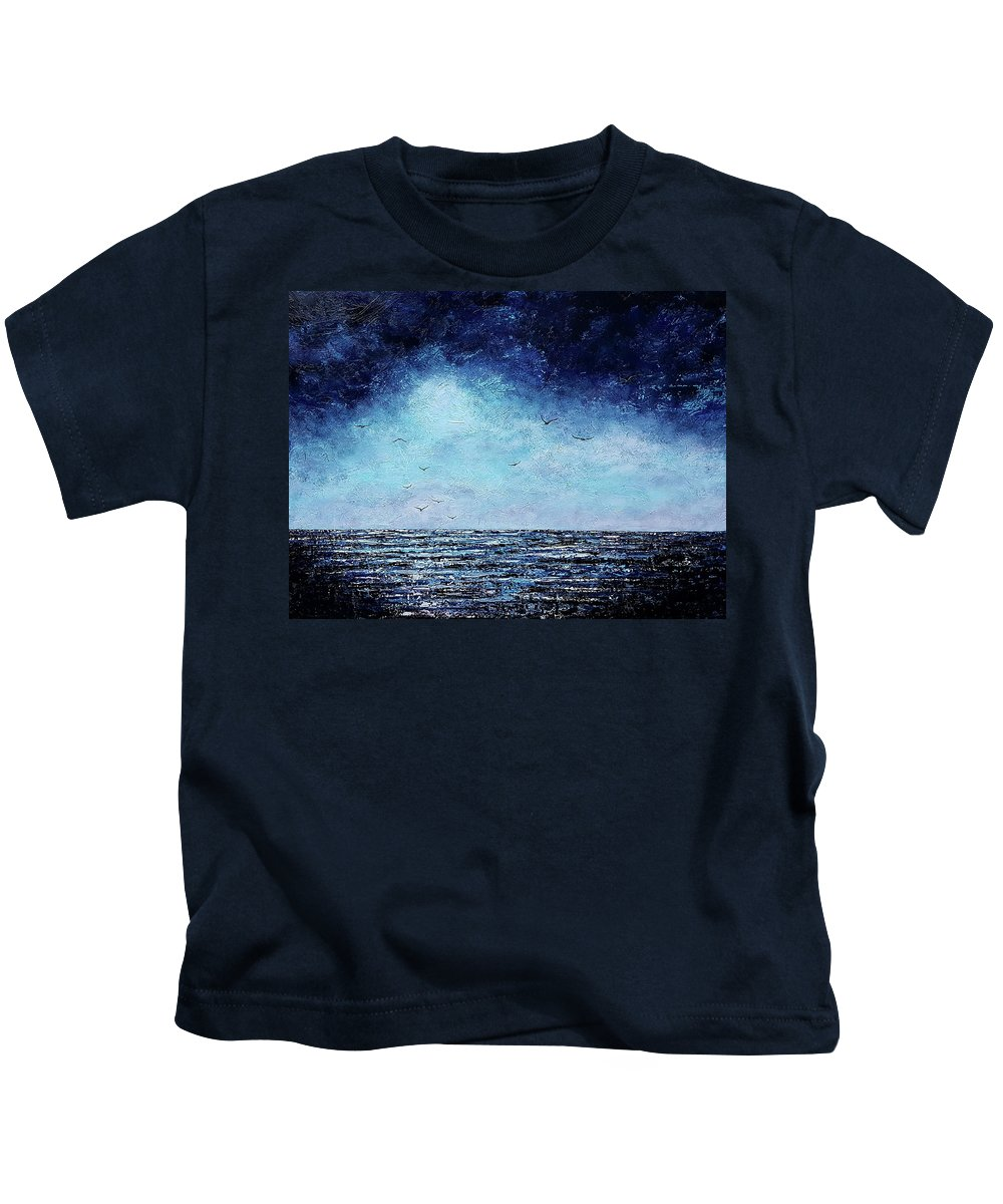 Blue Kids T-Shirt featuring the painting It Comes In Waves by Cindy Johnston