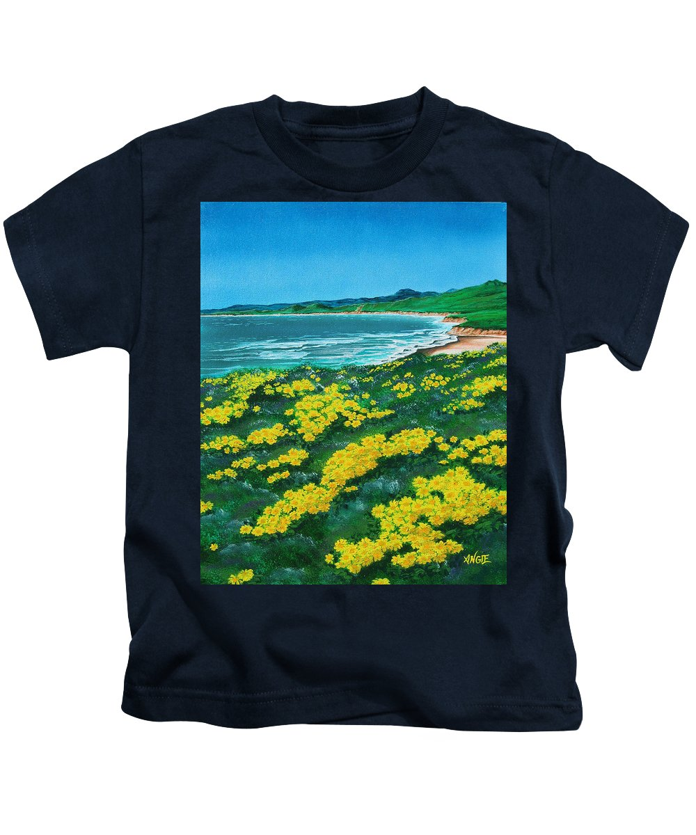 Jalama Kids T-Shirt featuring the painting Jalama Beach by Angie Hamlin