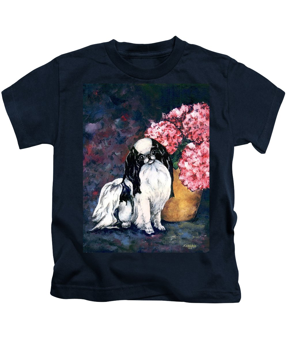 Japanese Chin Kids T-Shirt featuring the painting Japanese Chin And Hydrangeas by Kathleen Sepulveda