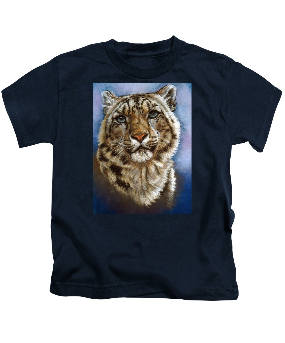 Snow Leopard Kids T-Shirt featuring the pastel Jewel by Barbara Keith