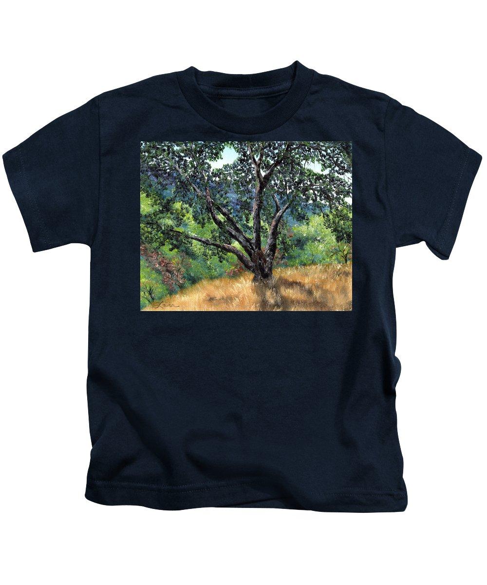 California Kids T-Shirt featuring the painting Juan Bautista De Anza Trail Oak by Laura Iverson