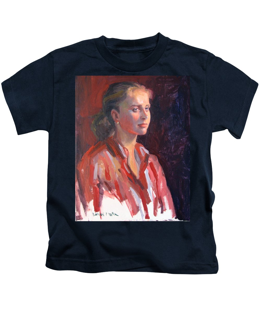 Portrait Kids T-Shirt featuring the painting Kate by Dianne Panarelli Miller
