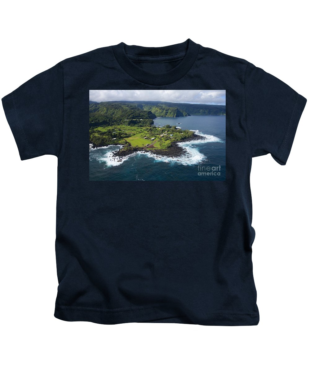 Aerial Kids T-Shirt featuring the photograph Keanae Peninsula Aerial by Ron Dahlquist - Printscapes