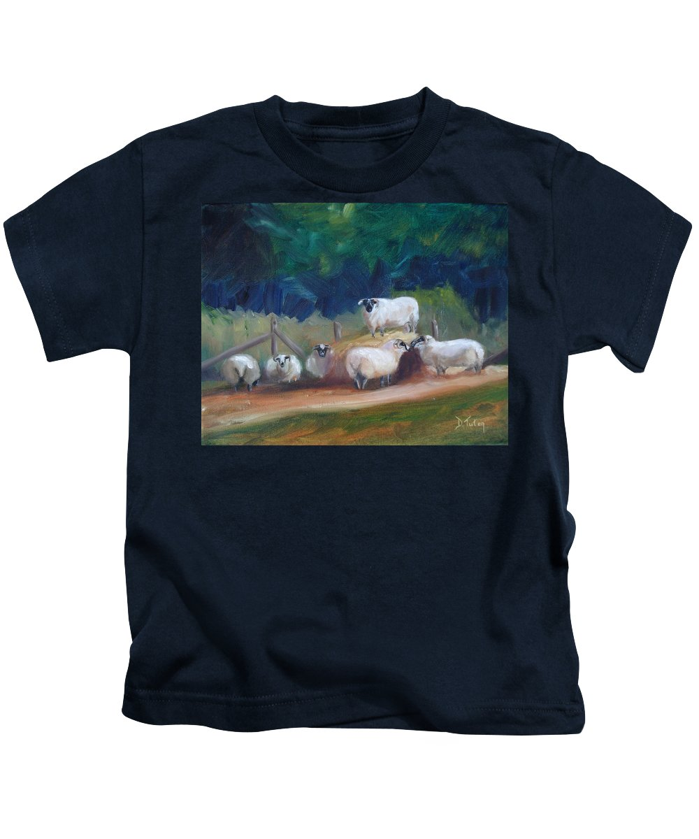 Sheep Kids T-Shirt featuring the painting King Of Green Hill Farm by Donna Tuten