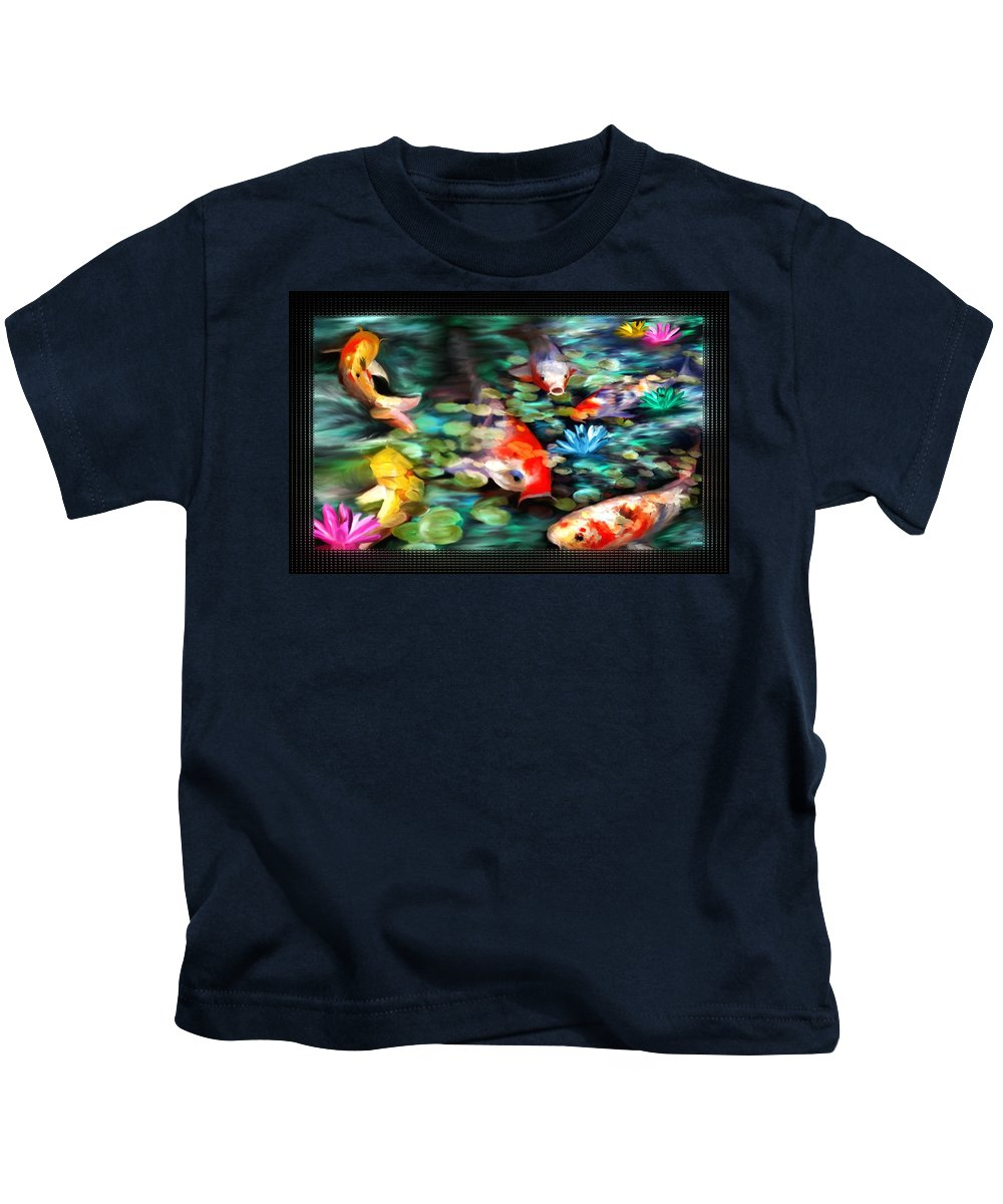 Koi Kids T-Shirt featuring the painting Koi Paradise by Susan Kinney