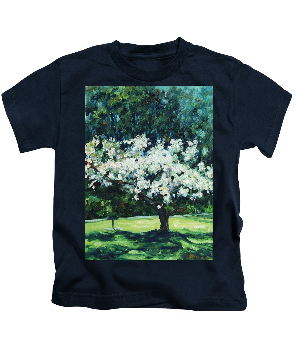 San Francisco Kids T-Shirt featuring the painting Kwanzan I by Rick Nederlof