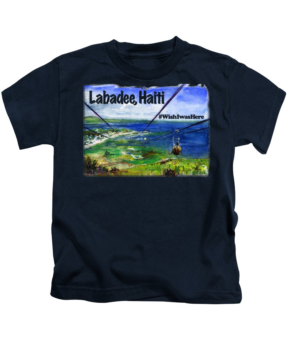 Watercolor Kids T-Shirt featuring the painting Labadee Haiti Shirt by John D Benson