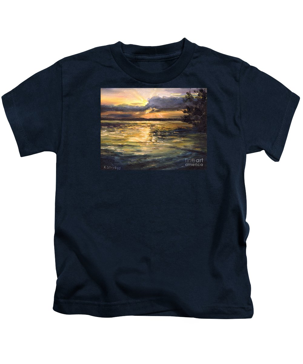 Lake Kids T-Shirt featuring the painting Lake by Arturas Slapsys