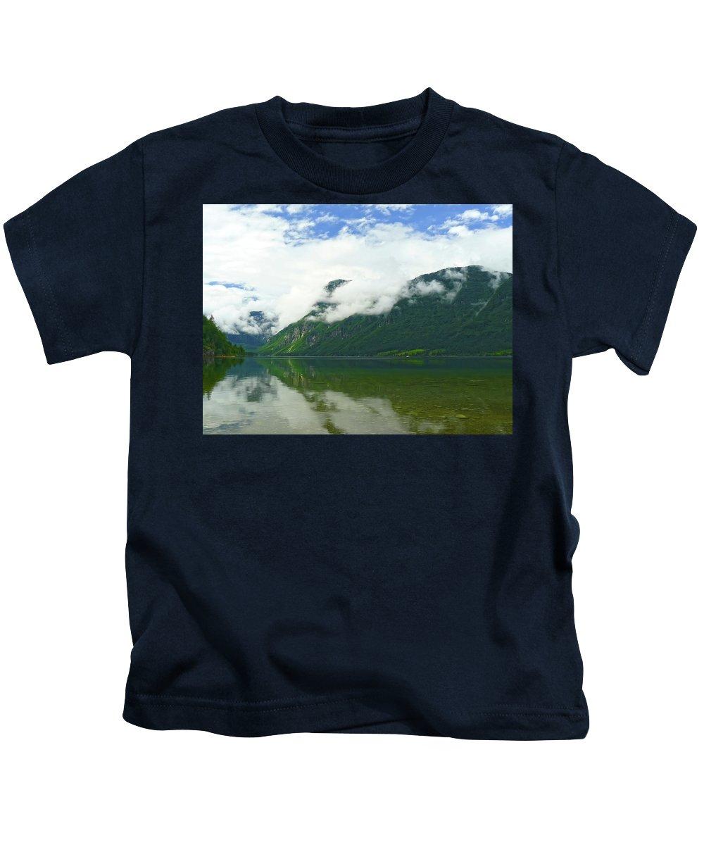 Bohinj Kids T-Shirt featuring the photograph Lake Bohinj by Daniel Csoka