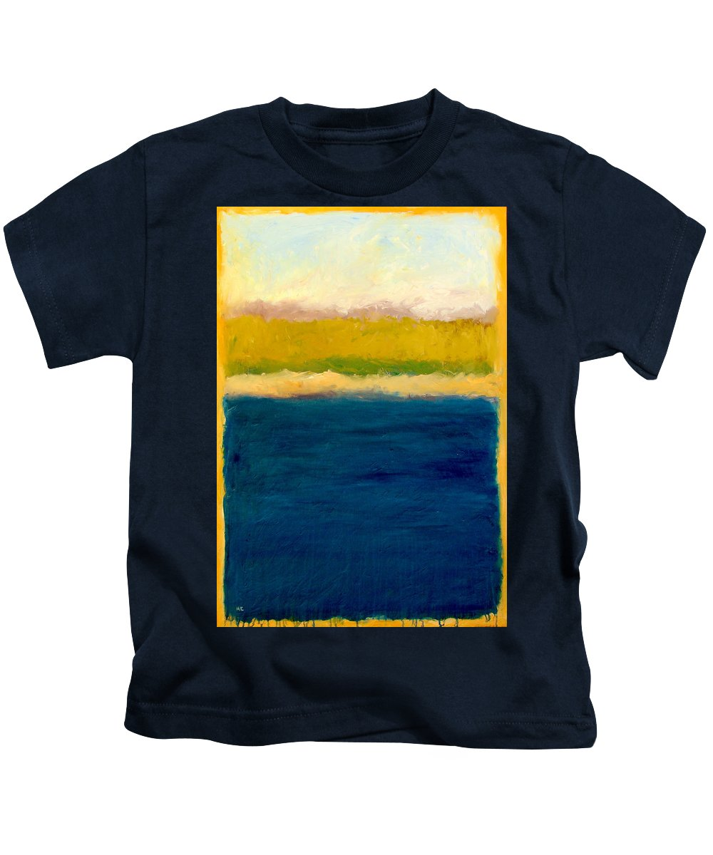 Dunes Kids T-Shirt featuring the painting Lake Michigan Beach Abstracted by Michelle Calkins