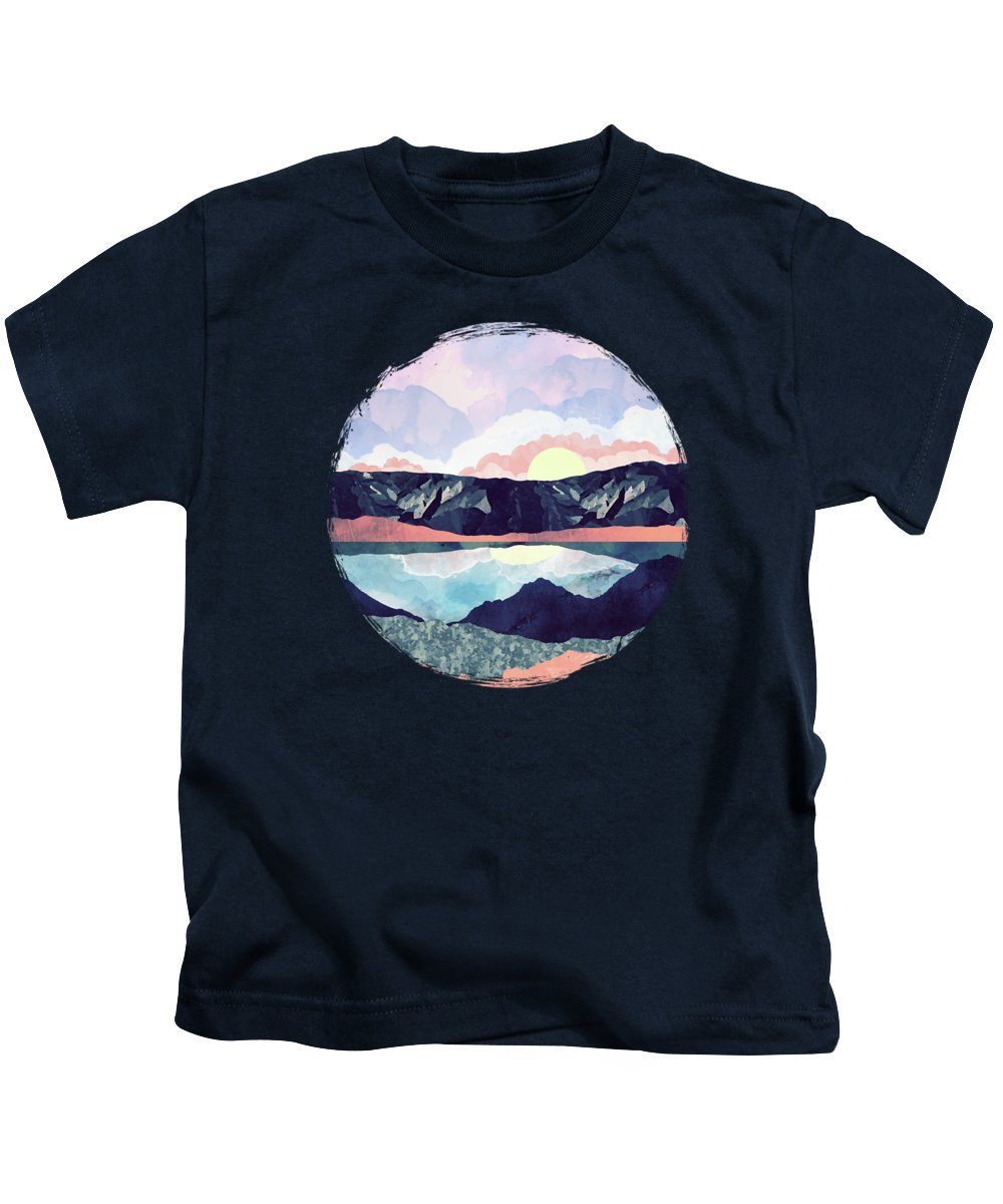 Lake Kids T-Shirt featuring the digital art Lake Reflection by Spacefrog Designs