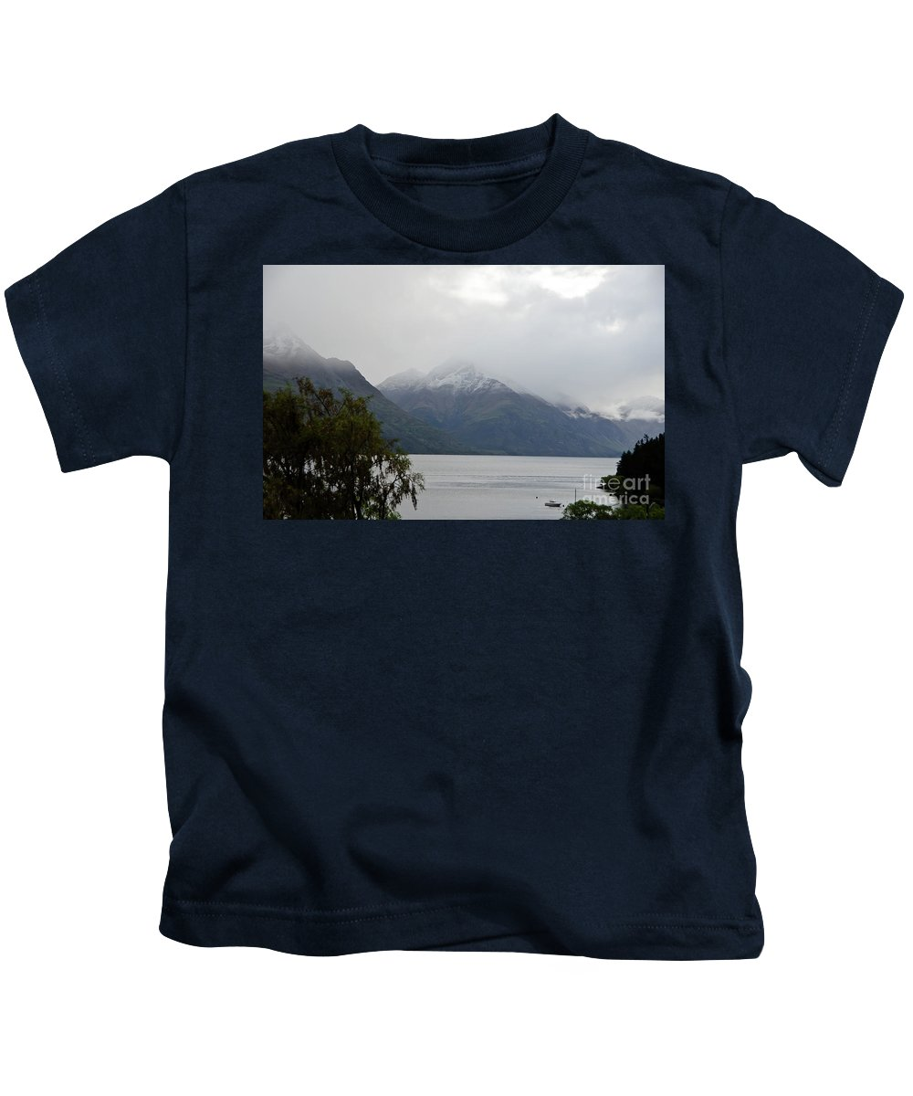 Queenstown Kids T-Shirt featuring the photograph Lake Wanaka On A Rainy Spring Day by Yurix Sardinelly
