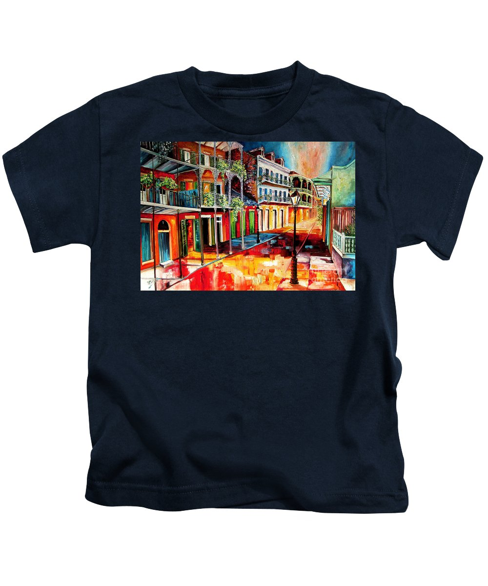 New Orleans Kids T-Shirt featuring the painting Late On Royal Street by Diane Millsap
