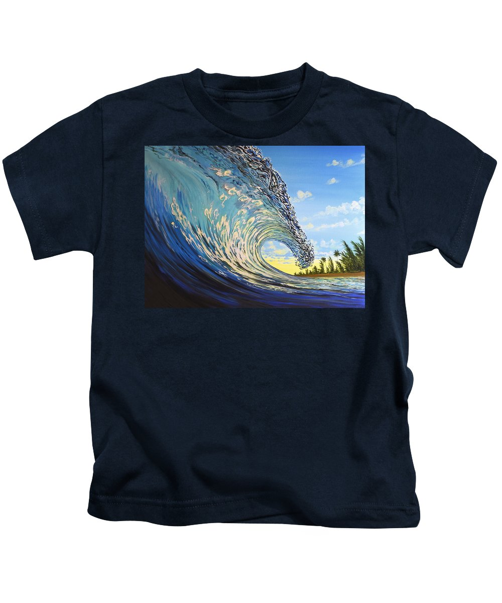 Surfart Kids T-Shirt featuring the painting Lemon Joy by Marty Calabrese