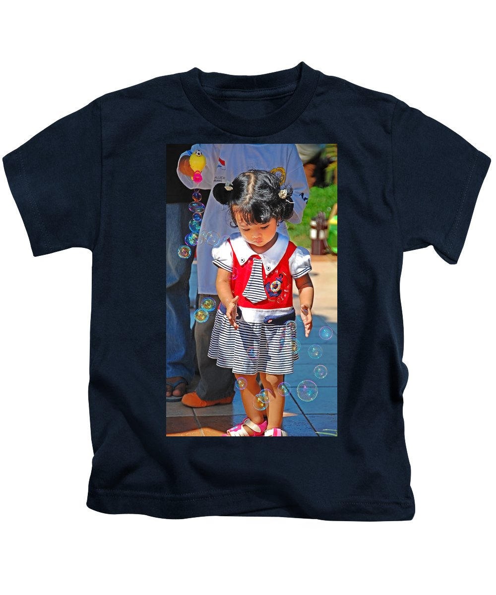 Girl Kids T-Shirt featuring the photograph Let Me Catch by Charuhas Images