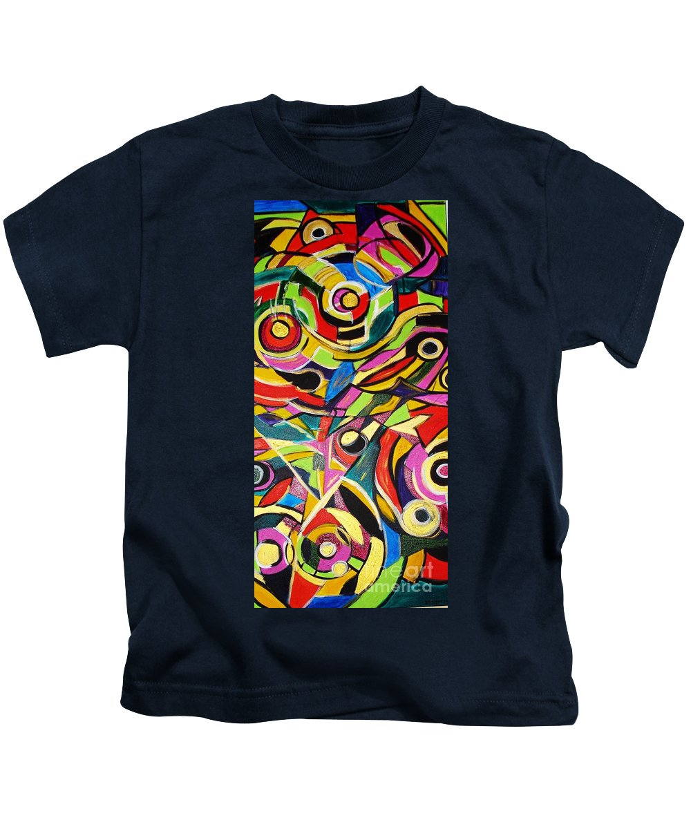 Paintings Kids T-Shirt featuring the painting Life Is A Puzzle by Yael VanGruber