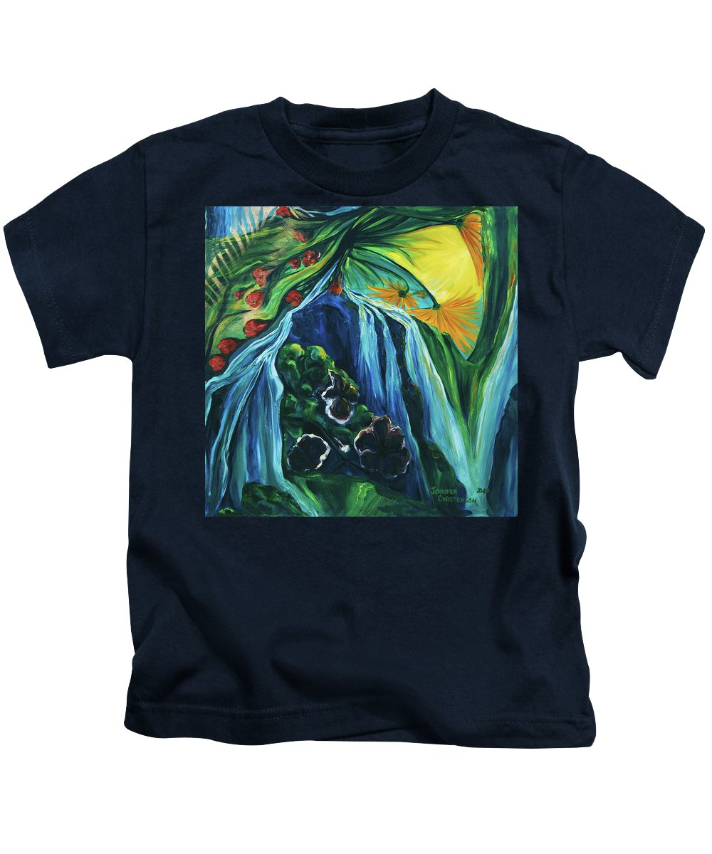Floral Kids T-Shirt featuring the painting Light Dawns On A Floating World by Jennifer Christenson