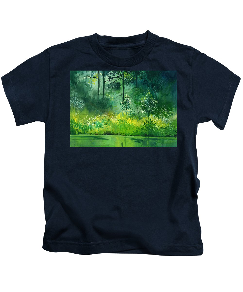 Water Kids T-Shirt featuring the painting Light N Greens by Anil Nene