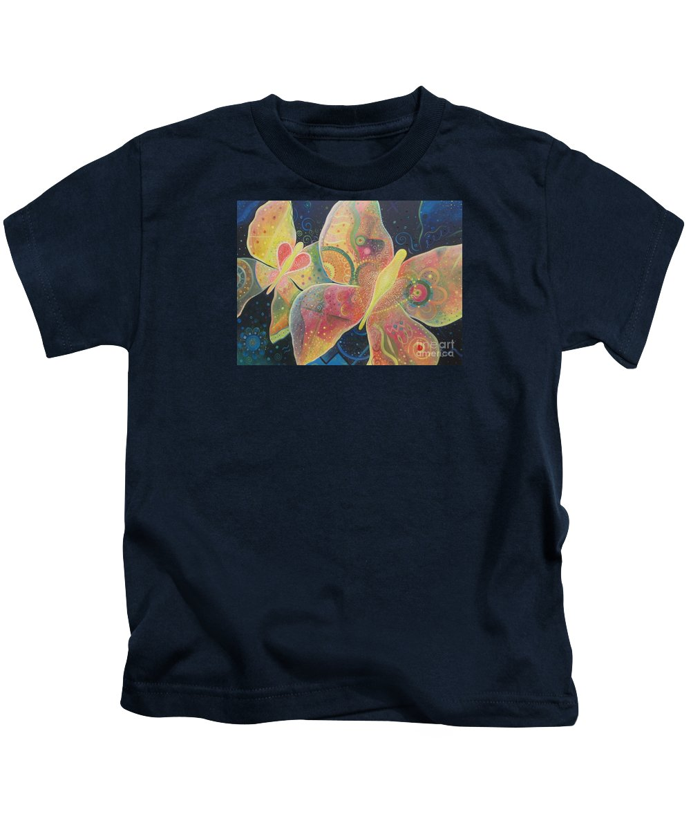 Butterfly Kids T-Shirt featuring the painting Lighthearted by Helena Tiainen