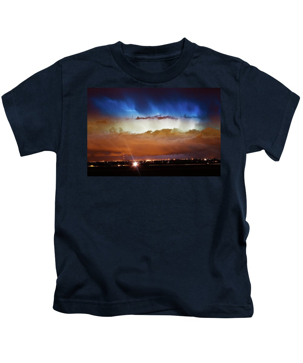bo Insogna Kids T-Shirt featuring the photograph Lightning Cloud Burst Boulder County Colorado Im34 by James BO Insogna