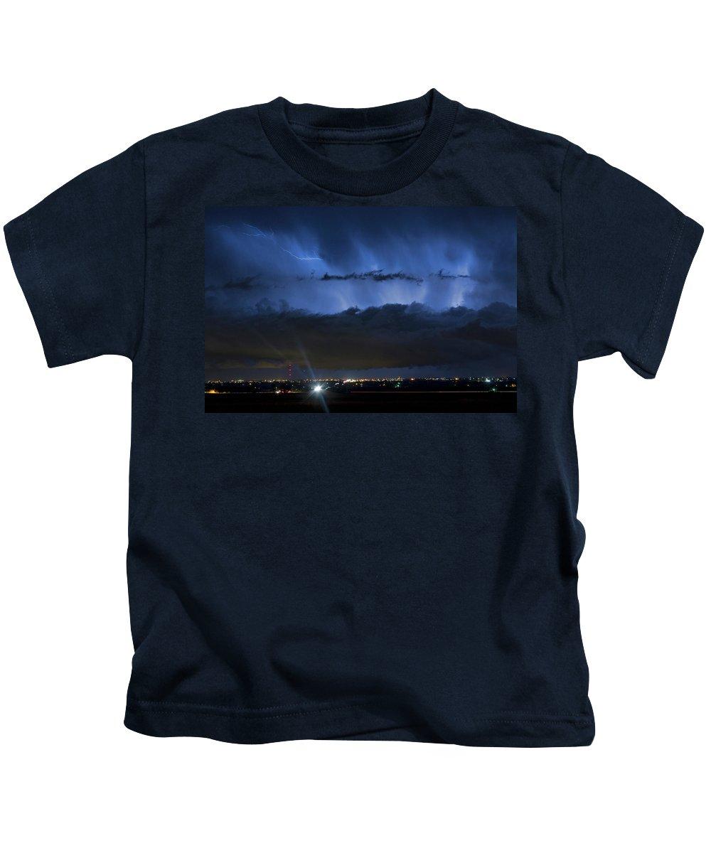 Cloudburst Kids T-Shirt featuring the photograph Lightning Cloud Burst by James BO Insogna