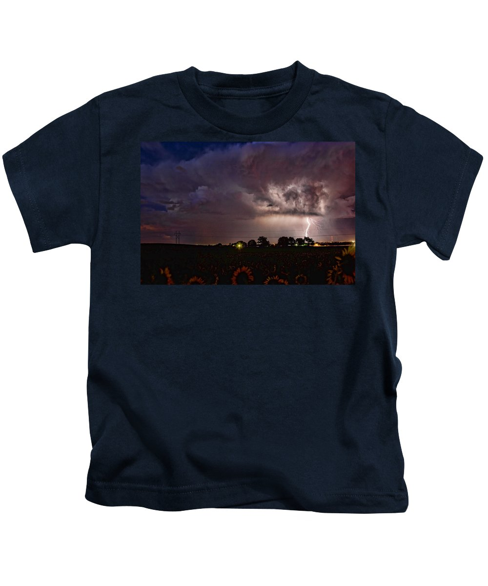Sunflowers; Fields; Lightning; Lightening; Chasers; Lightning Poster; Lightning Photography; Lightning Gallery; Picture Of Lightning; Lightning Storm Pictures; Lightning Photos Colorado; Pictures Of Storm Clouds And Lightning; Lightning Art; Lightnen Kids T-Shirt featuring the photograph Lightning Stormy Weather Of Sunflowers by James BO Insogna