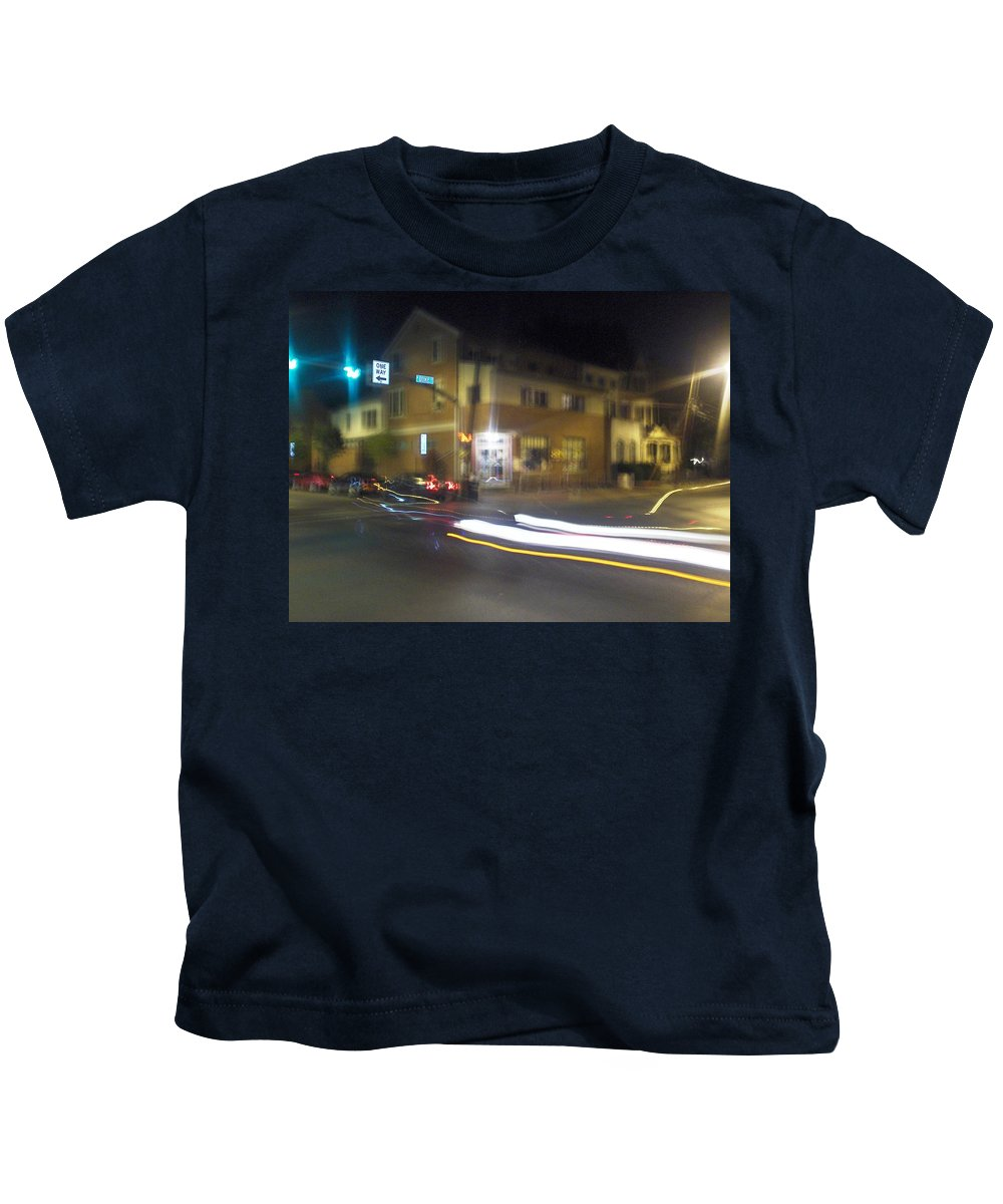 Photograph Kids T-Shirt featuring the photograph Lights That Race by Thomas Valentine