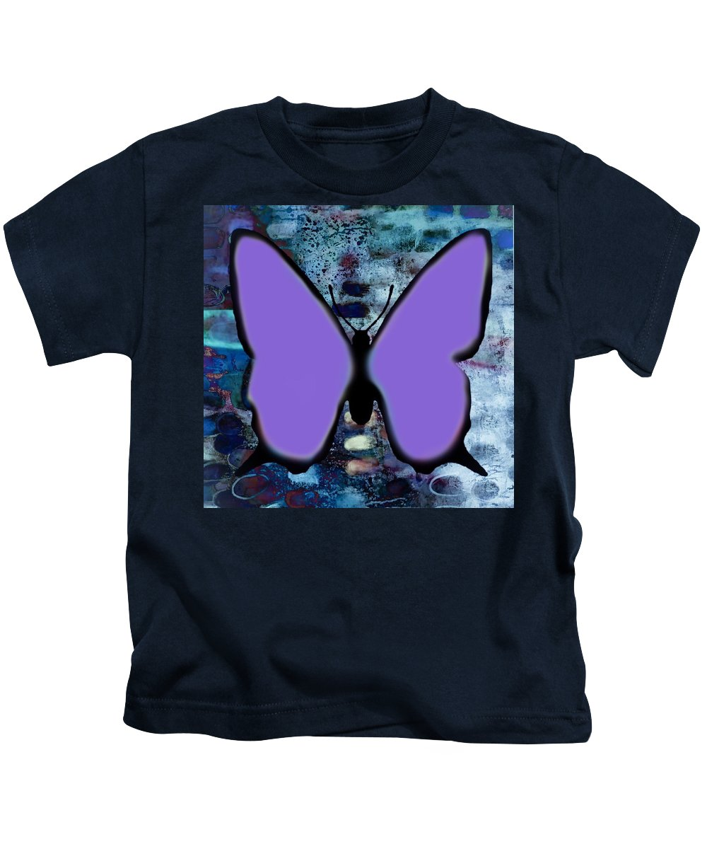 Butterfly Kids T-Shirt featuring the digital art Lila Papillon by Jean jacques Bossa