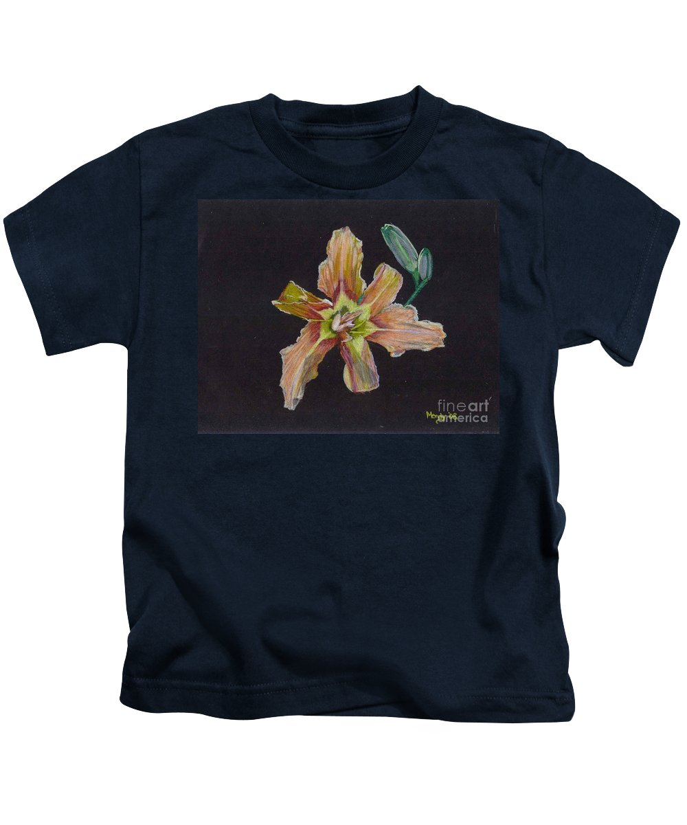 Lily Kids T-Shirt featuring the pastel Lily 2 by Mendy Pedersen