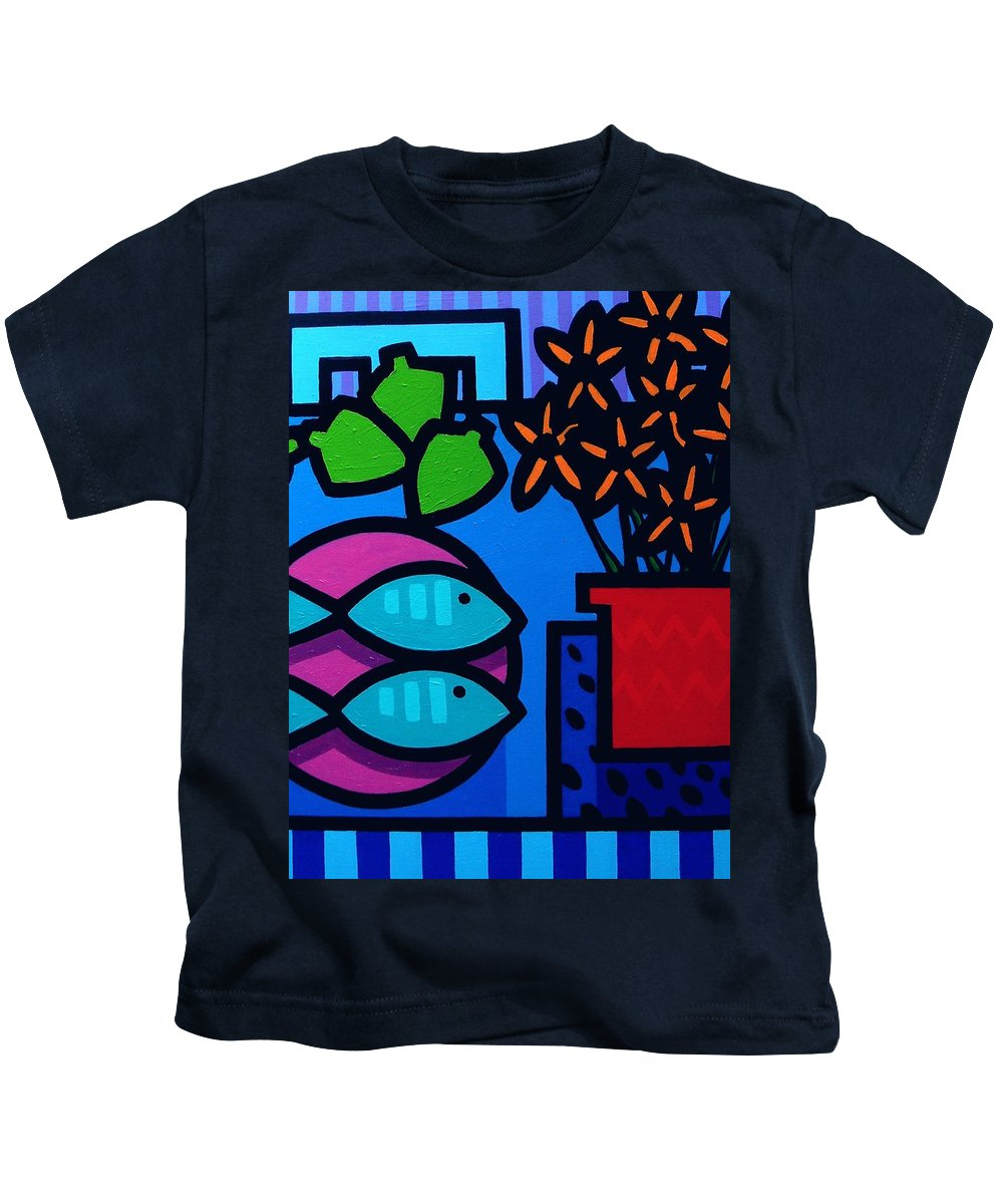 Still Life Kids T-Shirt featuring the painting Limes Fish Flowers by John Nolan