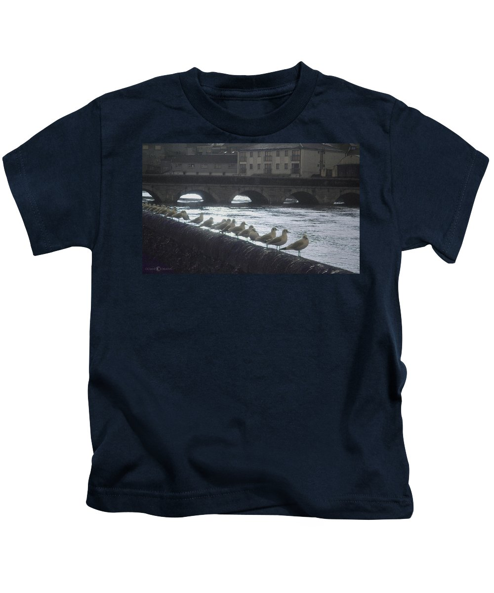 Birds Kids T-Shirt featuring the photograph Line Of Birds by Tim Nyberg