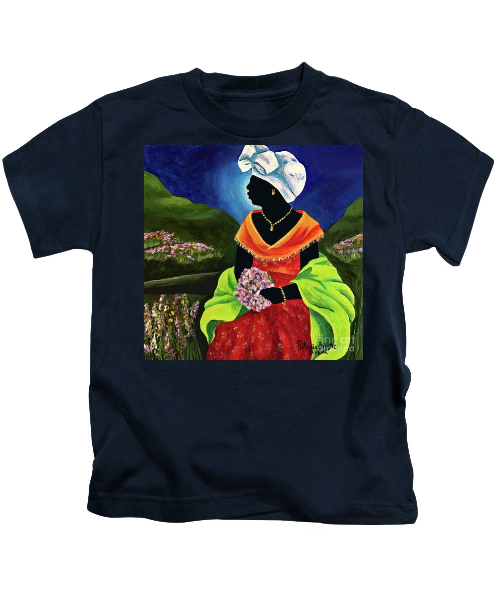 Haiti Kids T-Shirt featuring the painting Lisabelle by Patricia Brintle