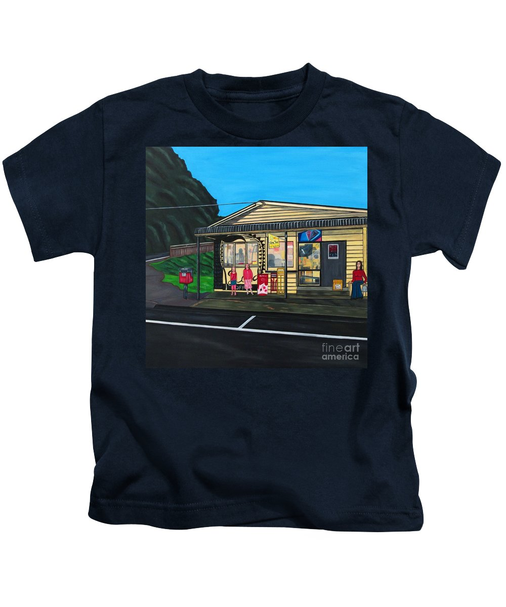 Buildings Kids T-Shirt featuring the painting Little Oneroa Store by Sandra Marie Adams
