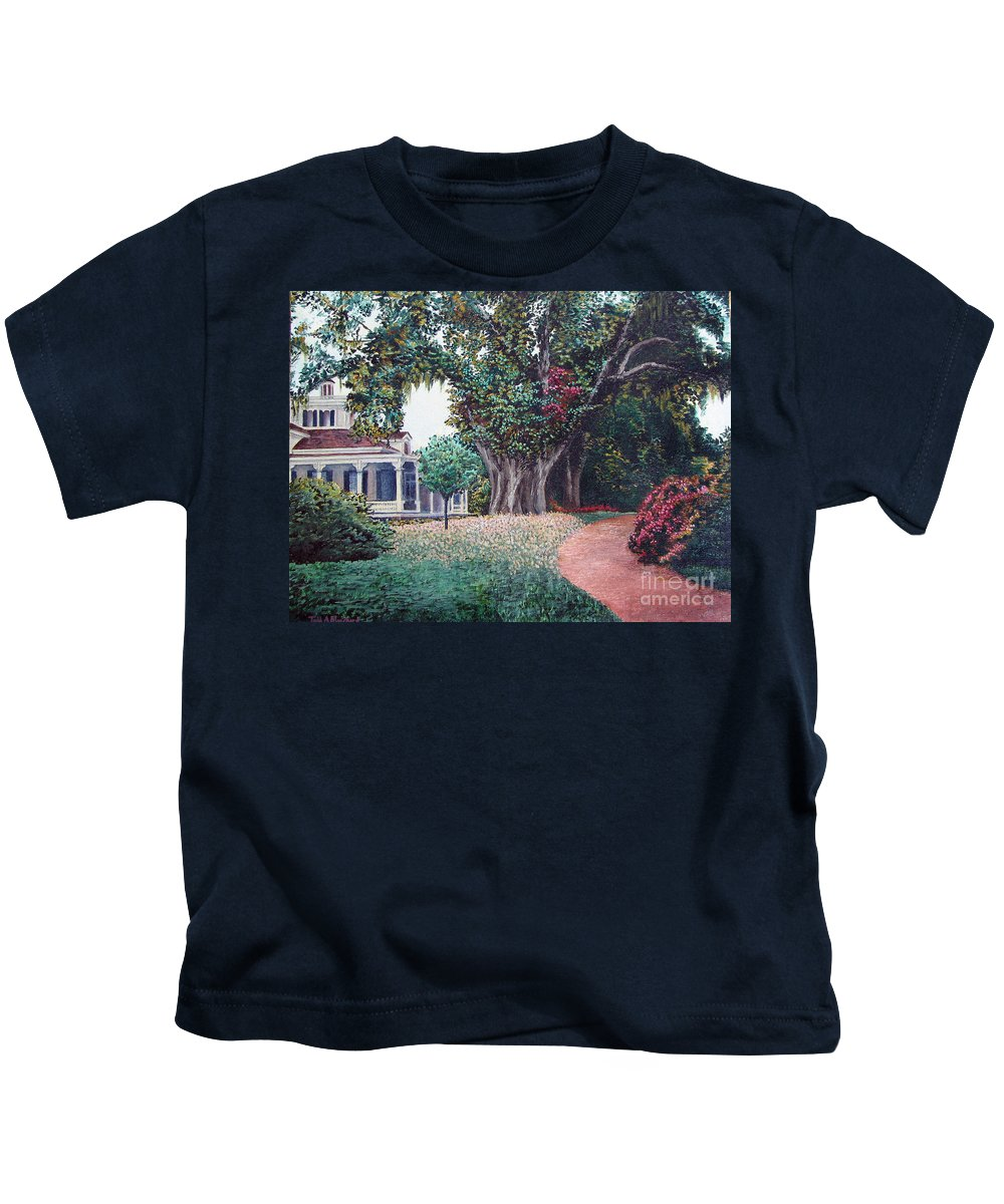 Landscape Kids T-Shirt featuring the painting Live Oak Gardens Jefferson Island La by Todd A Blanchard