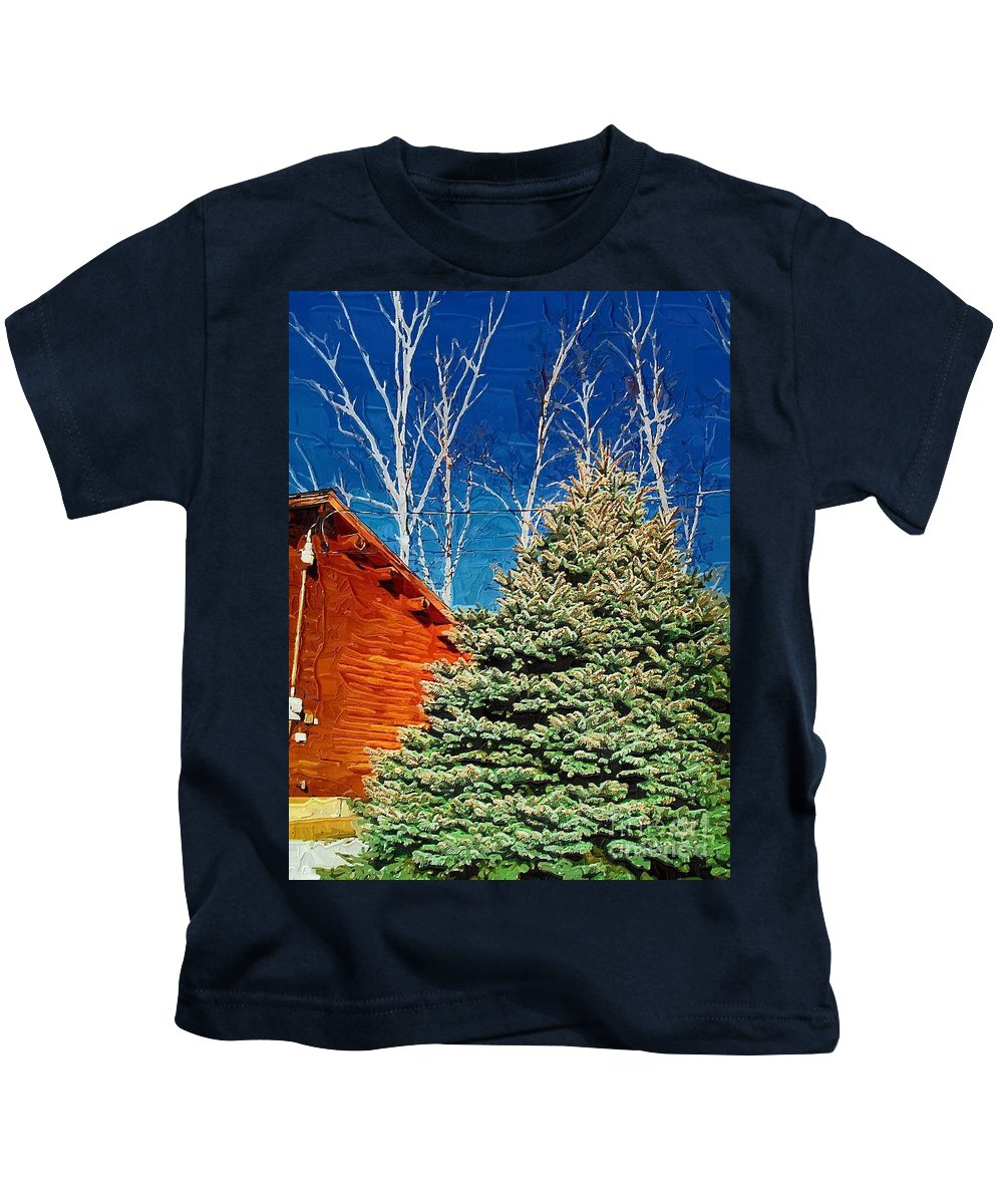 Cabin Kids T-Shirt featuring the photograph Log Cabin With White Birch by Donna Bentley