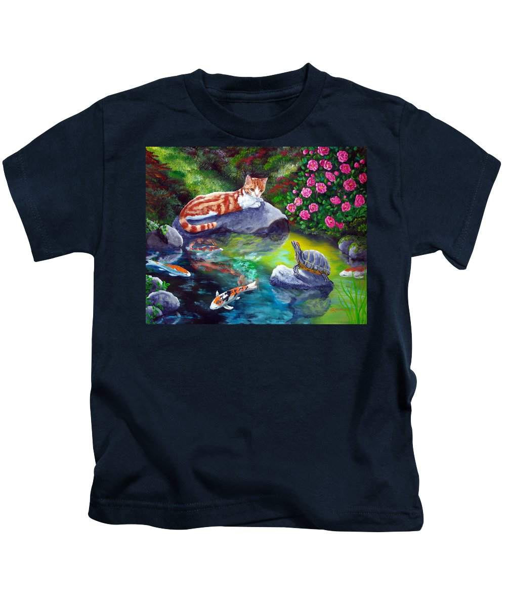 Cat Kids T-Shirt featuring the painting Loki Meets A Turtle by Laura Iverson