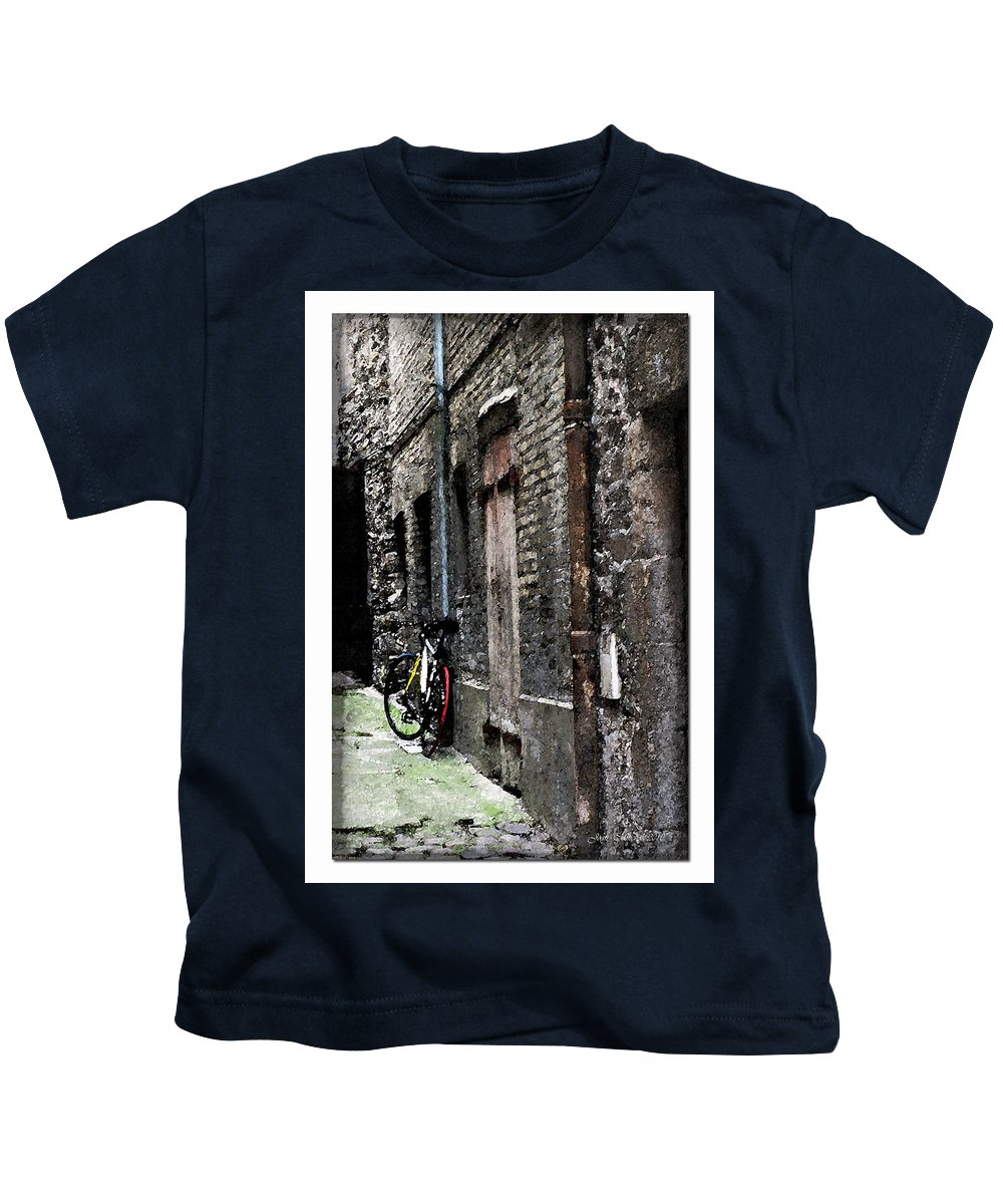 Alley Kids T-Shirt featuring the photograph Lone Bike In France by Joan Minchak